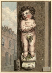 A figure placed against the house in Pye Corner, London
